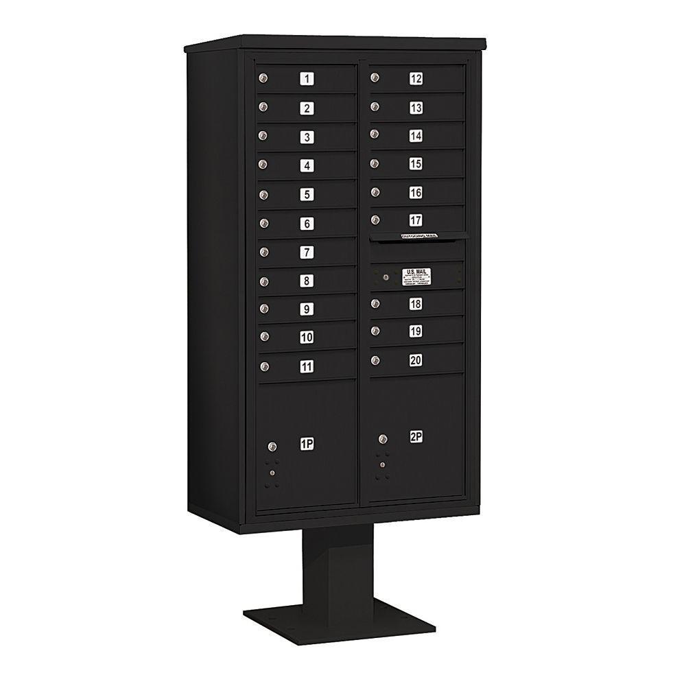 3400 Series Black Mount 4C Pedestal Mailbox with 20 MB1 Doors/2 PL