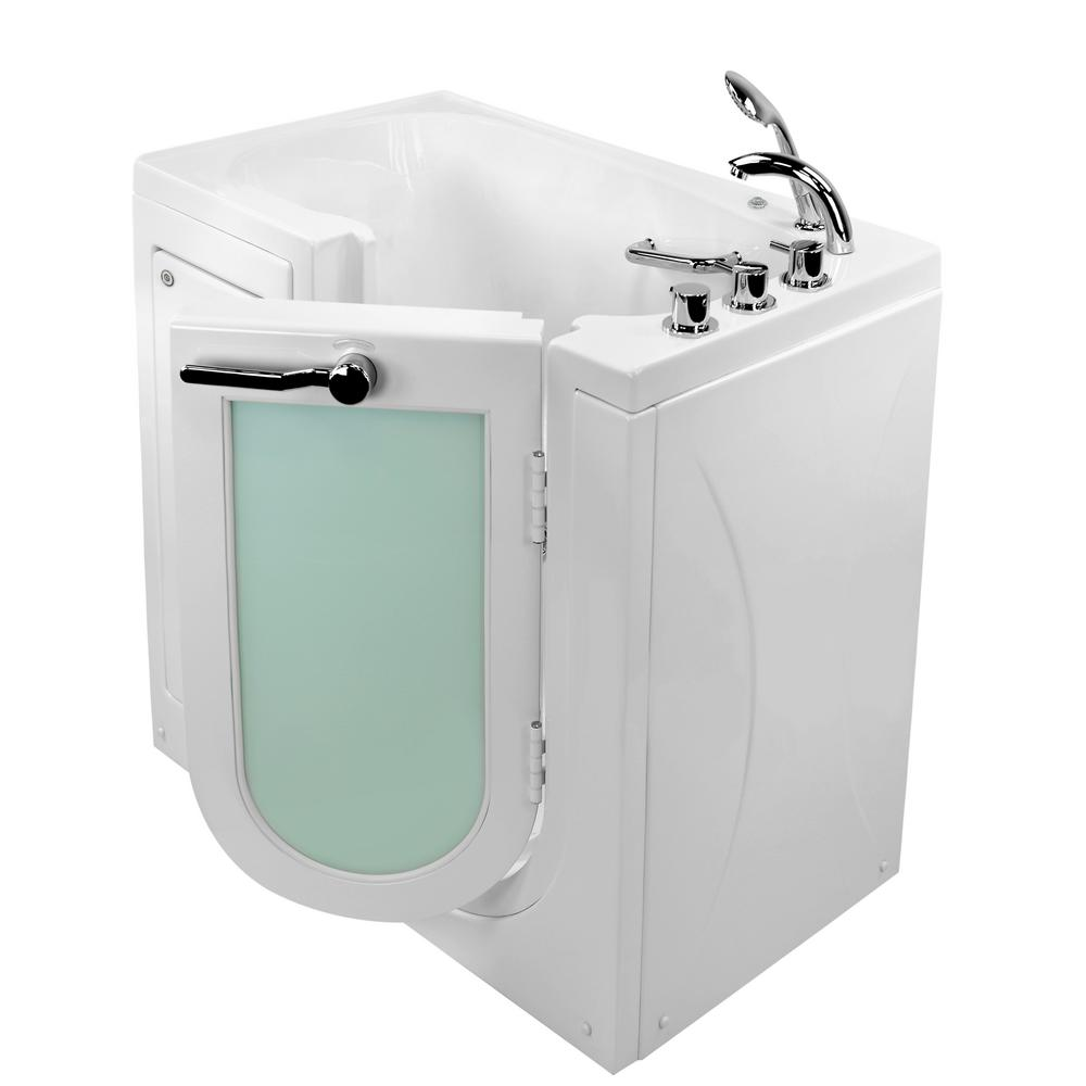 Ella Mobile 45 in. Walk-In MicroBubble Air Bath Bathtub in White with RH Outward Swing Door, Heated Seat,Faucet,RH Dual Drain