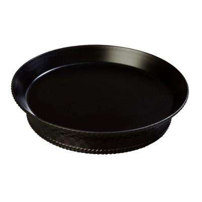 10 in. Diameter Polypropylene Round Serving Platter with Raised Base in Black (Case of 12)