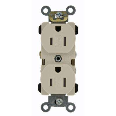 15 Amp Commercial Grade Tamper Resistant Back Wired Self Grounding Duplex Outlet, Light Almond