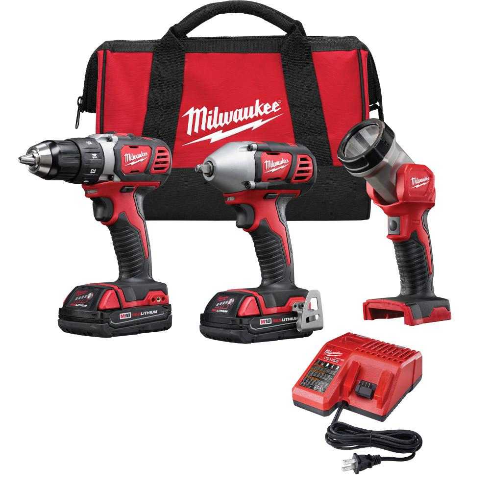M18 18-Volt Lithium-Ion Cordless Compact Drill/Impact Wrench/Light Combo Kit