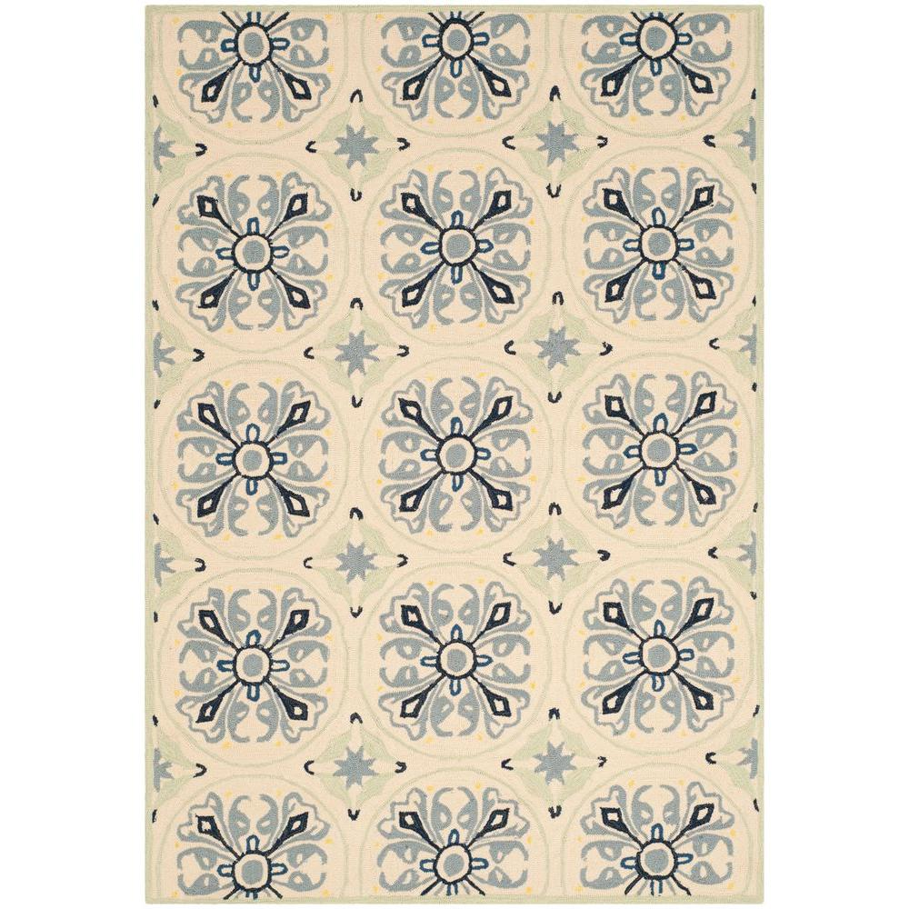 Four Seasons Ivory/Blue 8 ft. x 10 ft. Indoor/Outdoor Area Rug
