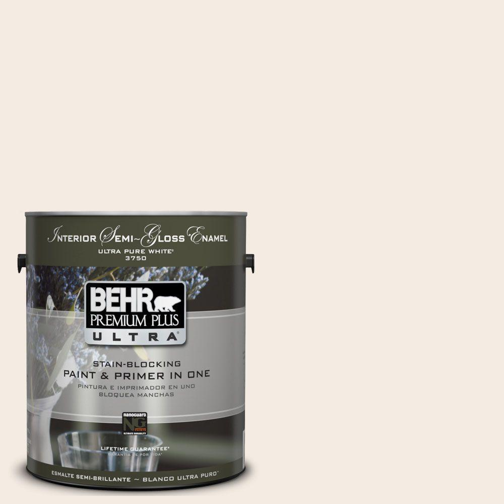 BEHR Premium Plus Ultra 1-gal. #UL140-13 Bleached Linen Interior Semi-Gloss Enamel Paint