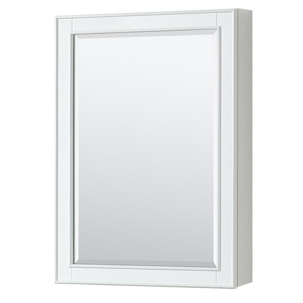 Deborah 24 in. W x 33 in. H Framed Wall Mirror in White