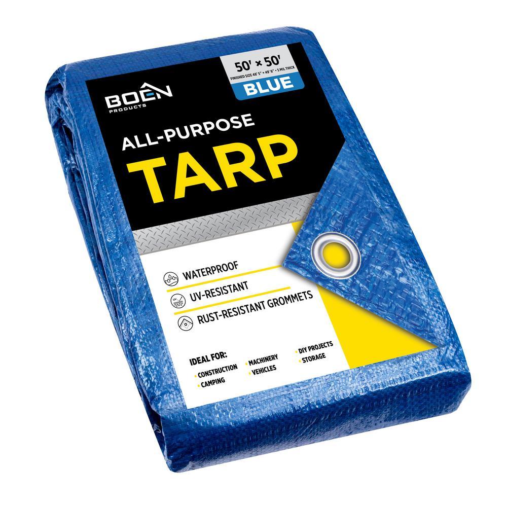 BOEN All Purpose Heavy Duty Blue Poly Tarp Cover 50 ft. x 50 ft, Water Resistant, Tarpaulin