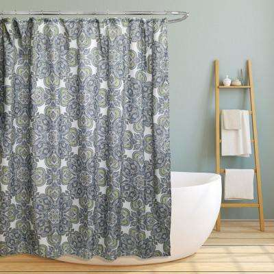 Amy 70 in. Geometric Paisley Floral Canvas Shower Curtain