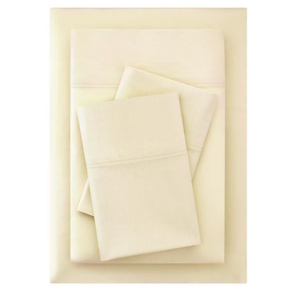 Vintage Washed Cotton Percale 4-Piece Queen Sheet Set in Desert