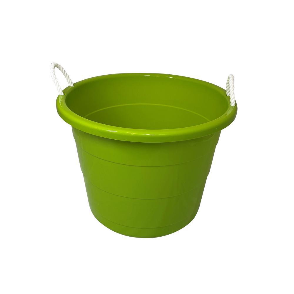 17 gal. Rope Handle Tub Storage Tote in Lime (2-Pack)