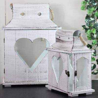White Washed Wooden Candle Holder Lanterns (Set of 2)
