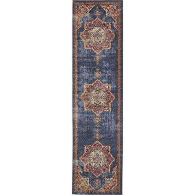 Utopia Helios Navy Blue 2' 7 x 10' 0 Runner Rug