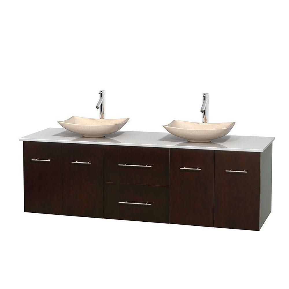 Wyndham Collection Centra 72 in. Double Vanity in Espresso with Solid-Surface Vanity Top in White and Sinks