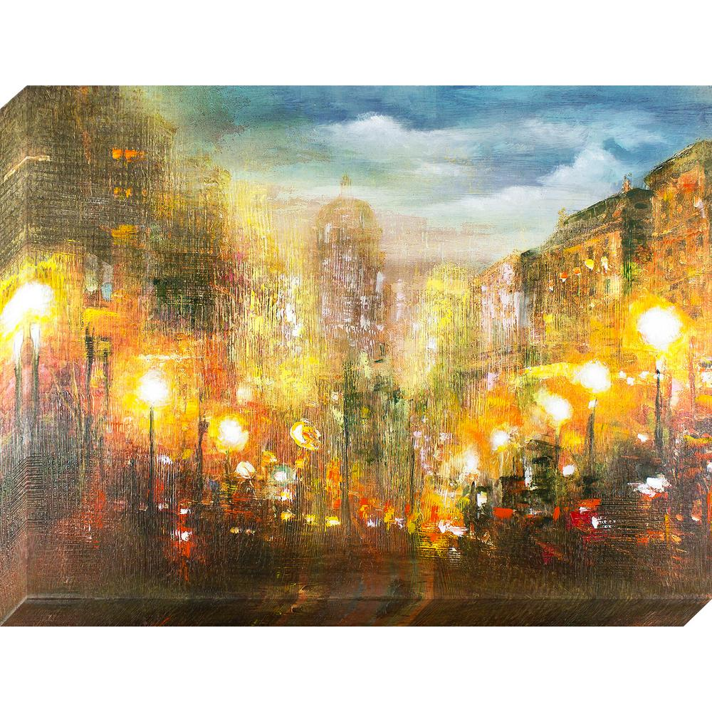 Decor Therapy 40 in. x 30 in. Evening Lights Oil Painted Canvas Wall ...