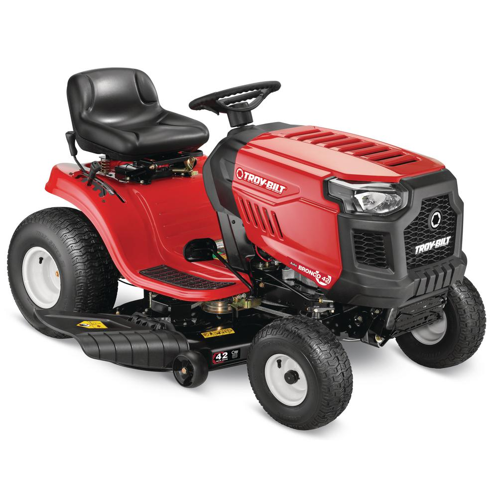 Troy-Bilt Bronco 42 in. 19 HP Briggs and Stratton Automatic Drive Gas Riding Lawn Tractor with Mow in Reverse (CA Compliant)