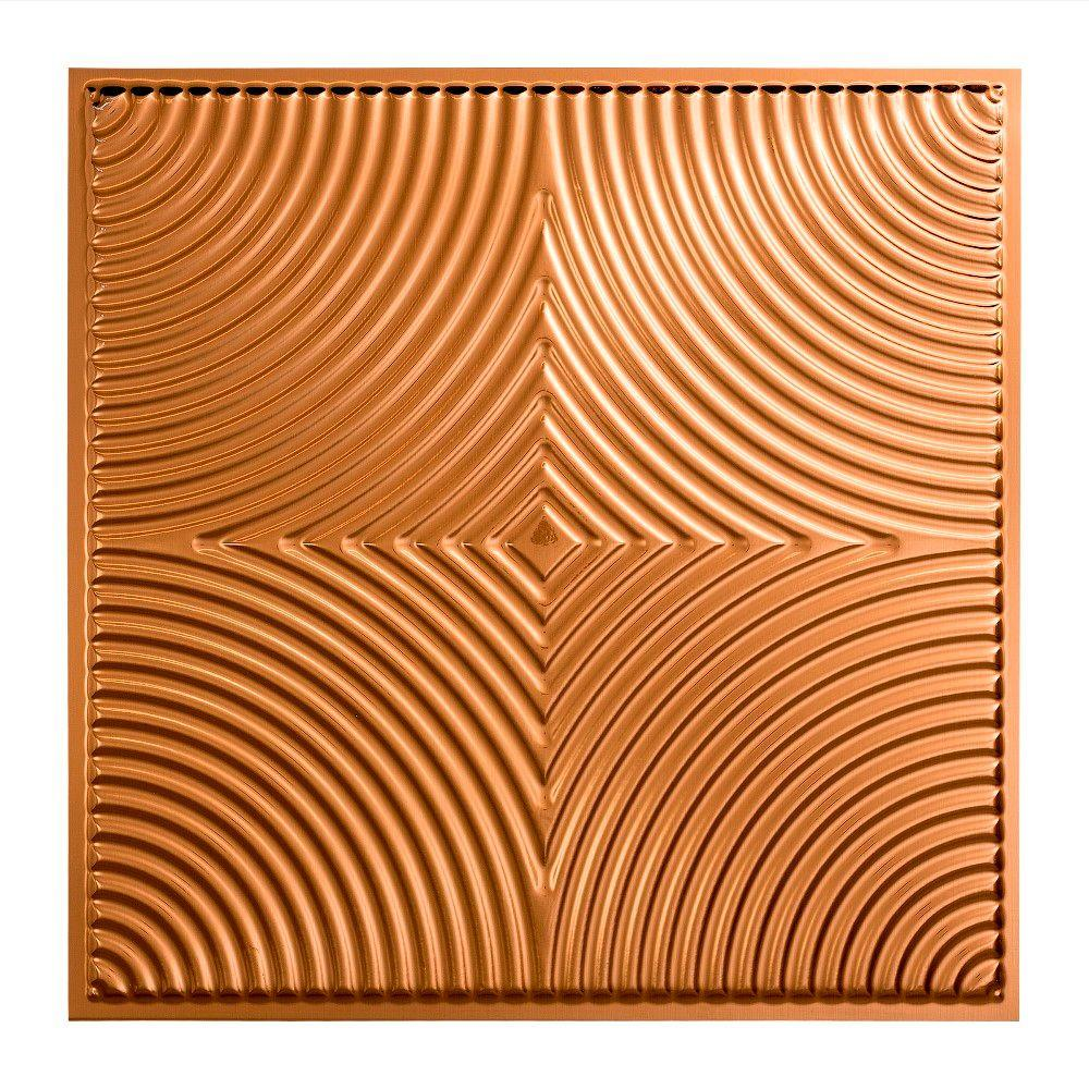 Fasade Echo - 2 ft. x 2 ft. Lay-in Ceiling Tile in Polished Copper