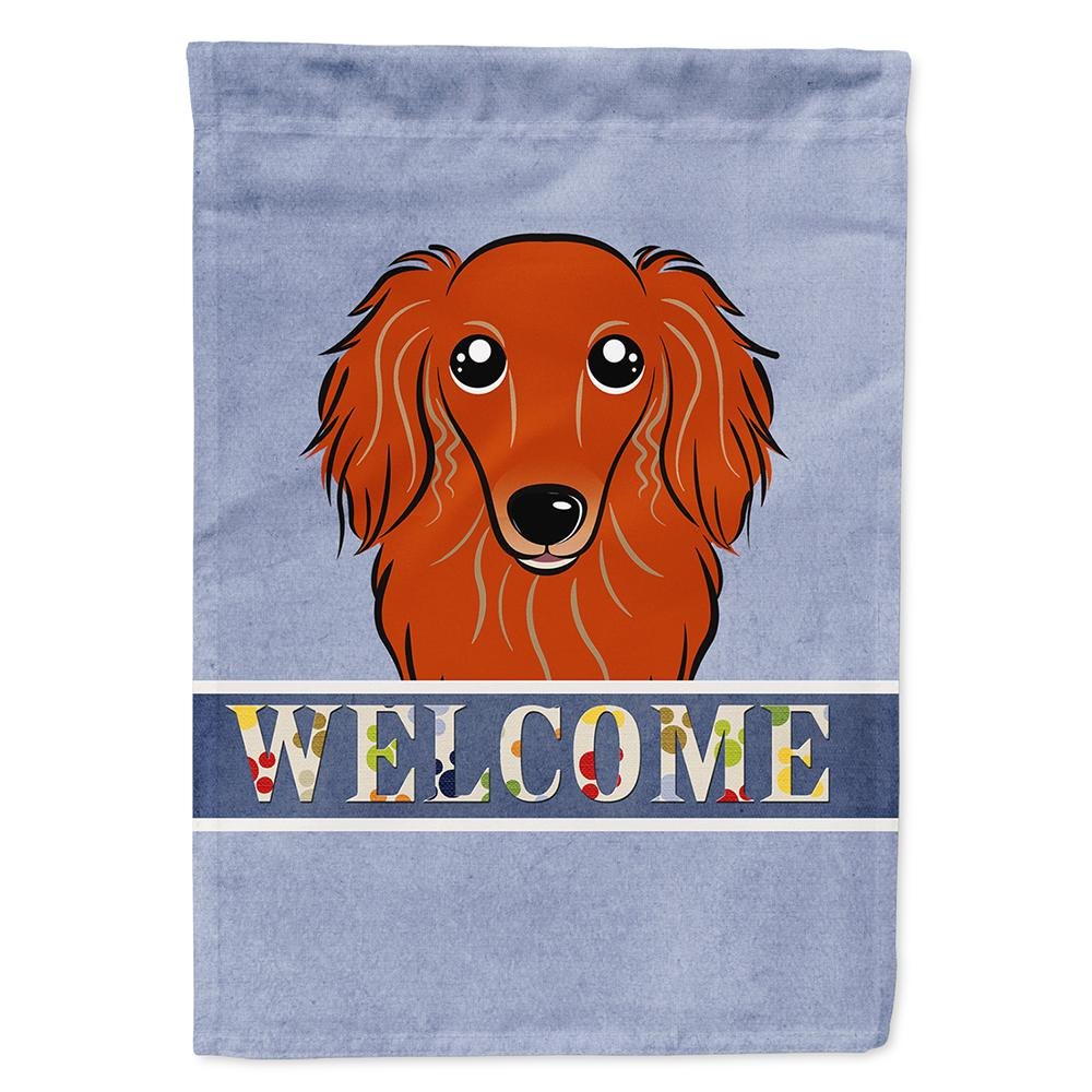 28 in. x 40 in. Polyester Longhair Red Dachshund Welcome ...