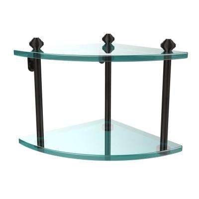 Southbeach Collection 8 in. 2-Tier Corner Glass Shelf in Oil Rubbed Bronze