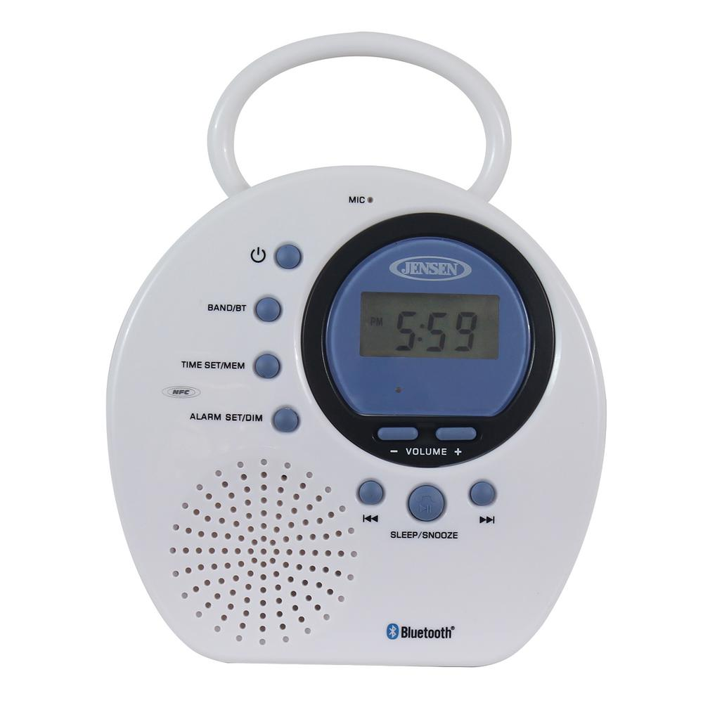 JENSEN Water Resistant Digital AM/FM Bluetooth Shower Clock Radio with Digital Tuning