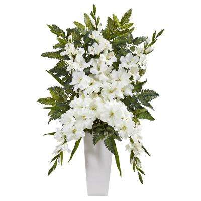 Indoor Gladiolas and Fern Artificial Arrangement in White Vase