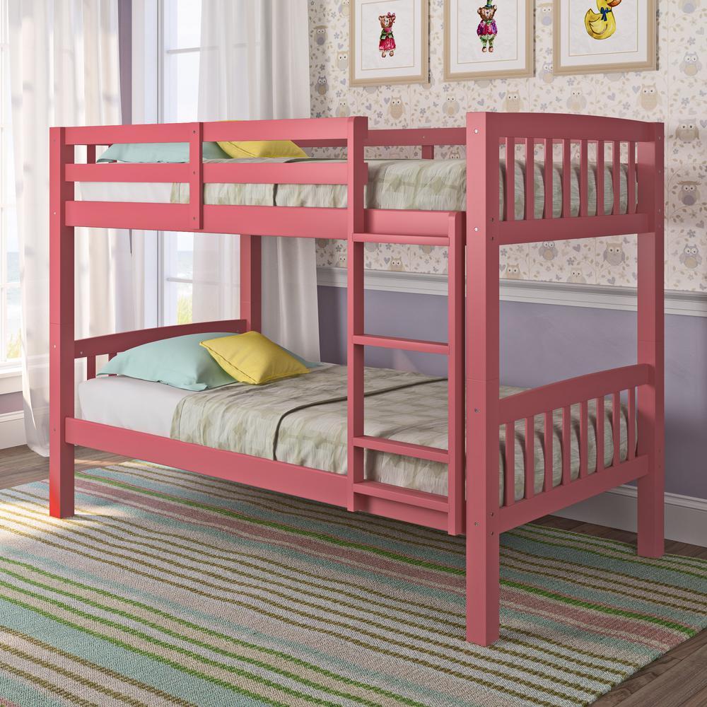 Corliving Dakota Pink Twin Single Bunk Bed Bdn 250 B The Home Depot