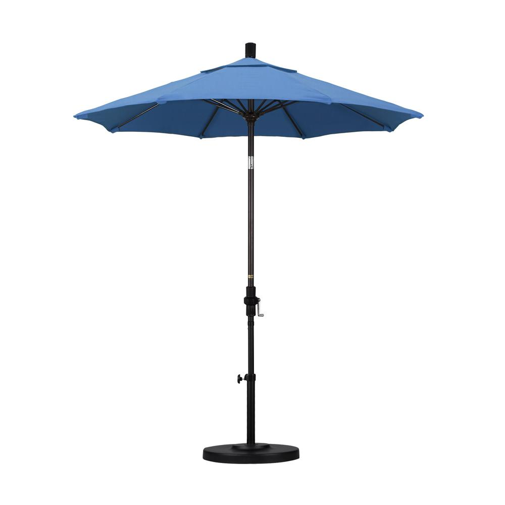 7-1/2 ft. Fiberglass Collar Tilt Patio Umbrella in Frost Blue Olefin