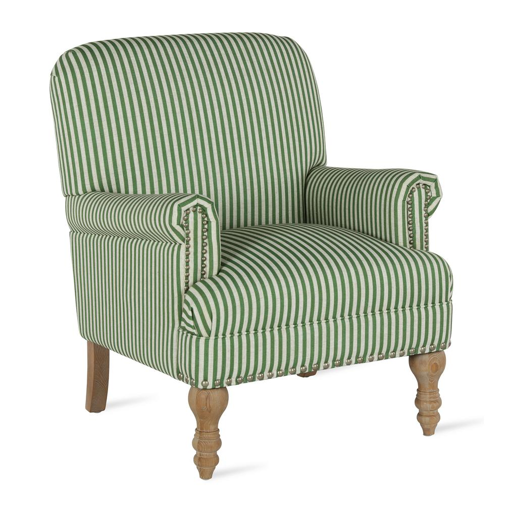 Dorel Living Joy Green Striped Upholstered Accent Chair-FH7902-GN ...