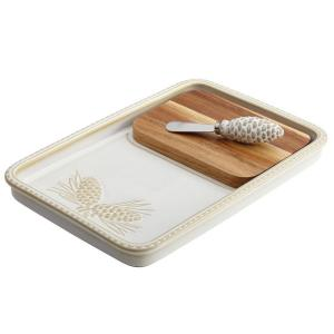 Dinnerware Sierra Pine Stoneware Cheese Board and Knife Set in Birch