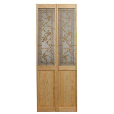 35.5 in. x 78.625 in. Giverny Unfinished Pine 1/2-Lite Decorative Glass Over Raised Panel Solid Core Wood Bi-fold Door