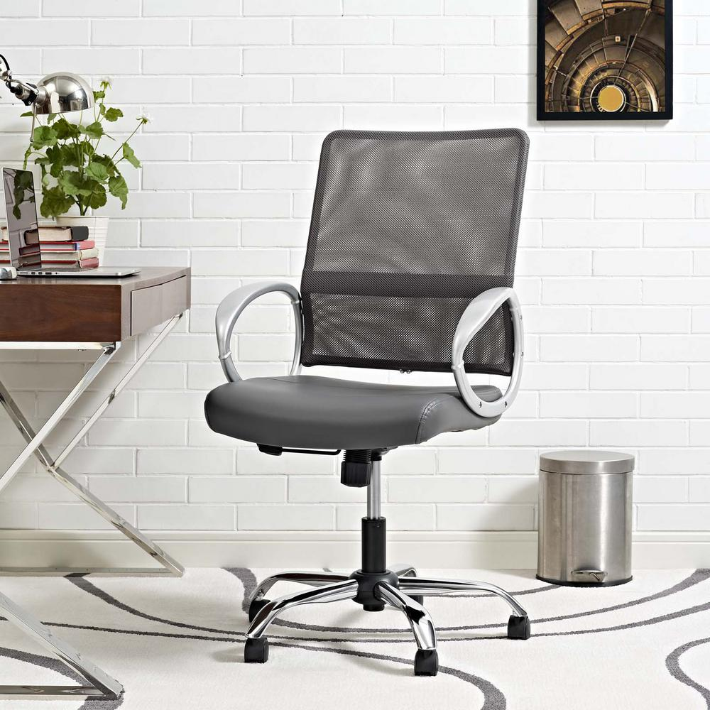 Modway Command Mesh And Vinyl Office Chair In Gray