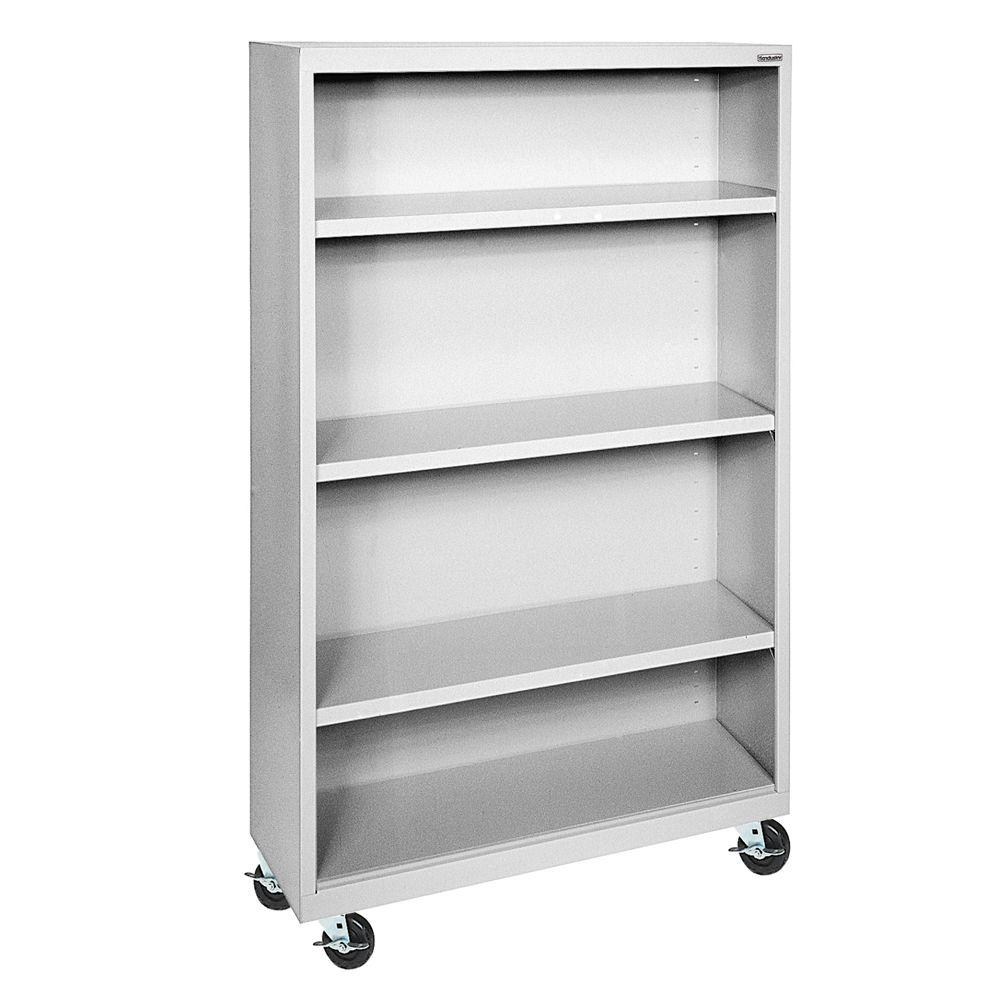Sandusky Dove Grey Mobile Steel Bookcase