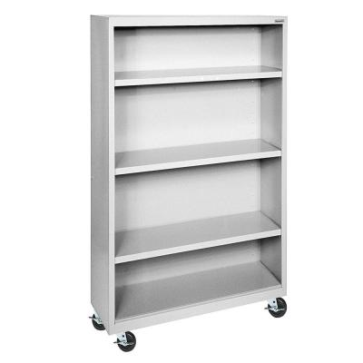 58 in. Dove Gray Metal 4-shelf Cart Bookcase with Adjustable Shelves