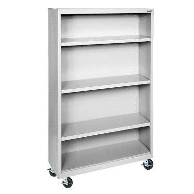 Dove Grey Mobile Steel Bookcase