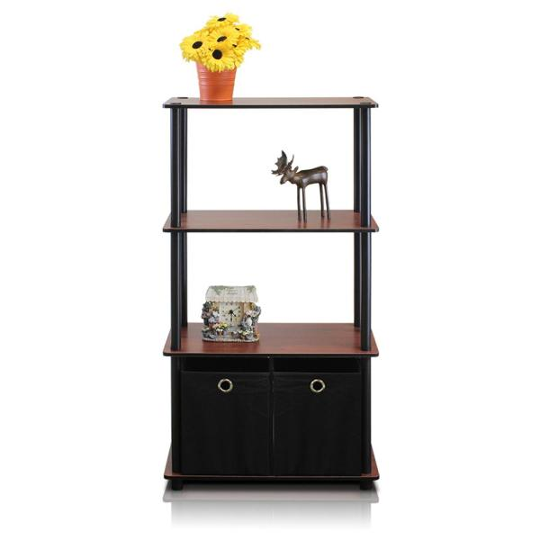 Furinno Go Green 4-Shelf Dark Cherry Open Bookcase with Bins NW889DC/BK/BK