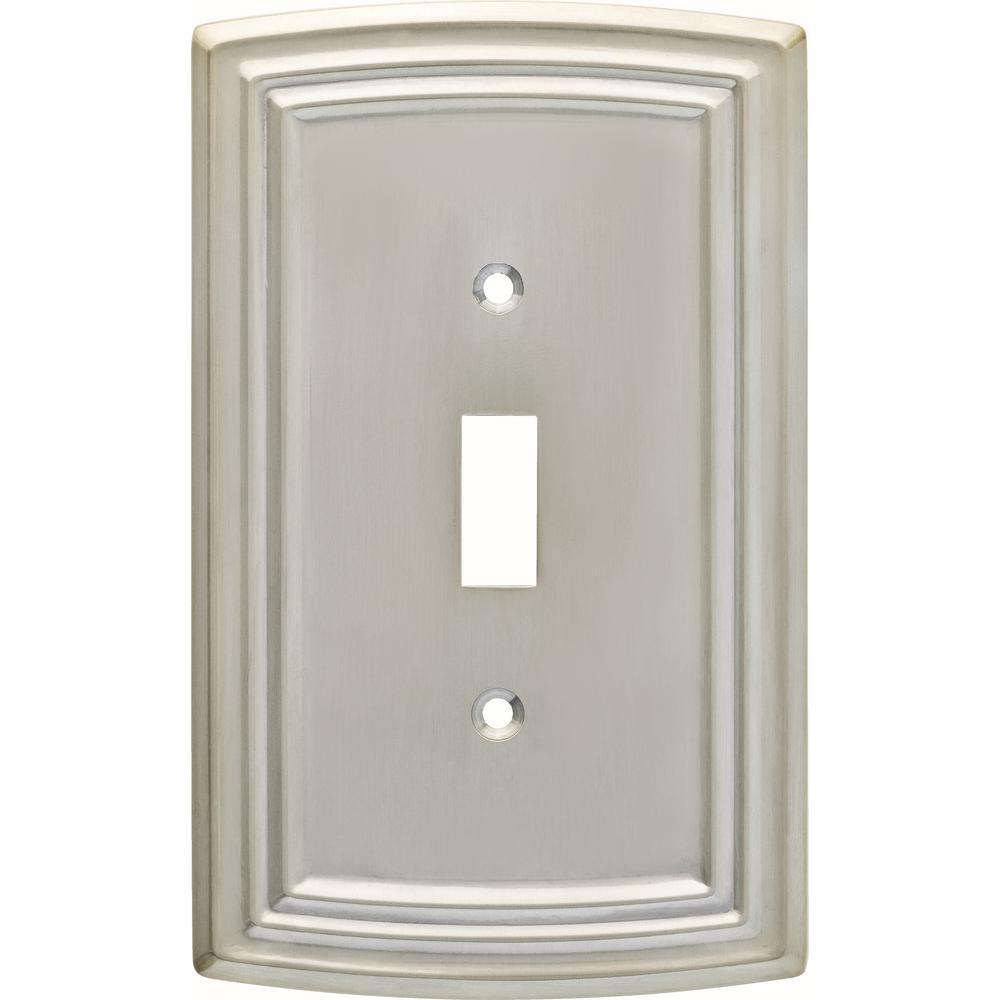 Hampton Bay Emery Decorative Single Light Switch Cover Satin Nickel