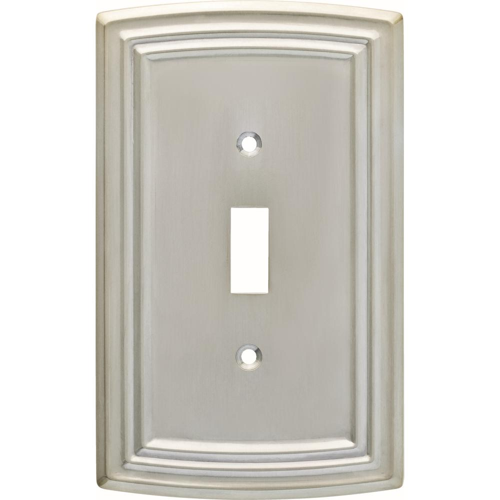 Hampton Bay Emery Decorative Single Light Switch Cover Satin Nickel