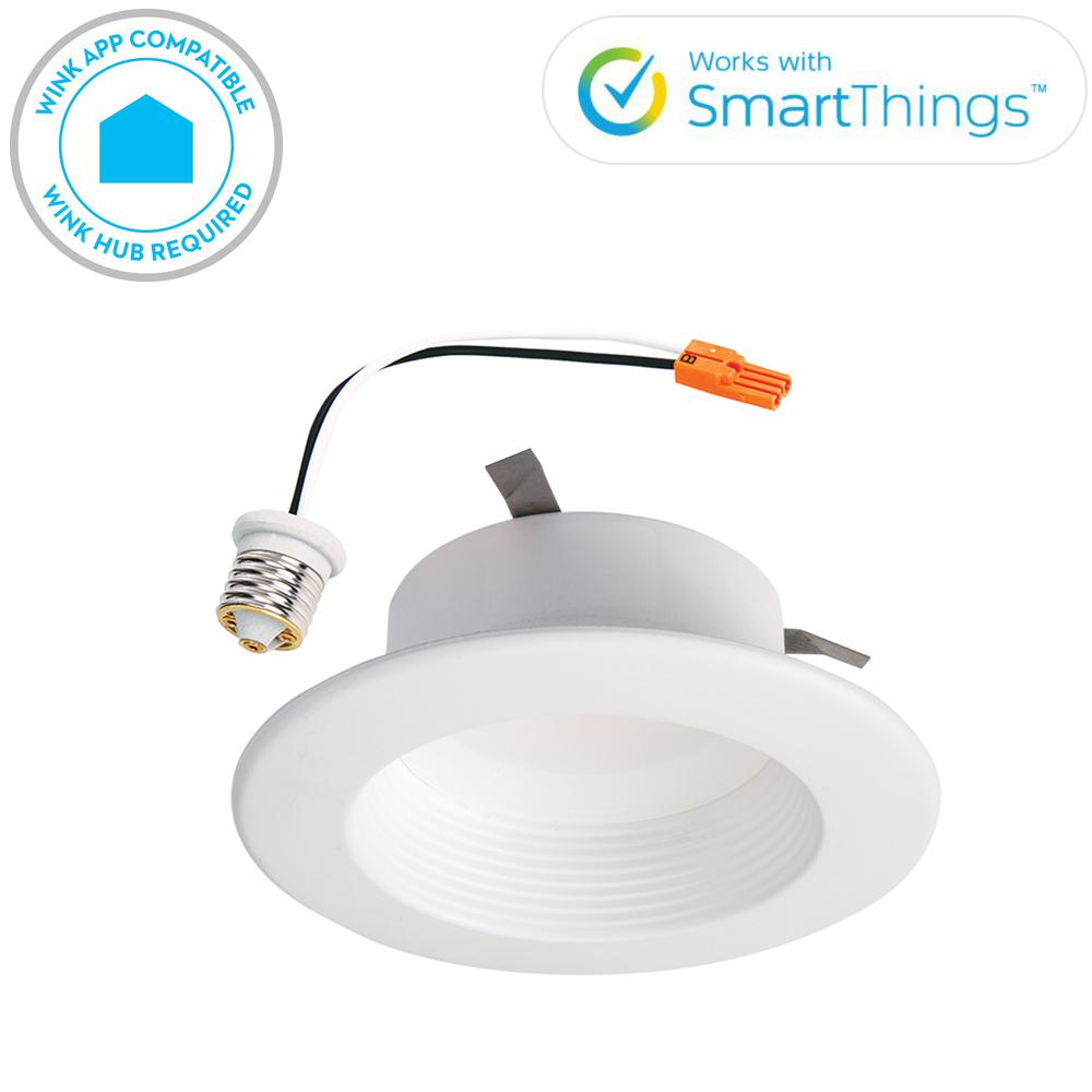 Halo Rl 4 In White Wireless Smart Integrated Led Recessed Ceiling Light Fixture Trim With Selectable Color Temperature