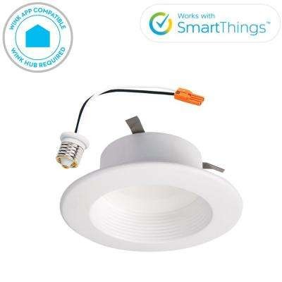 RL 4 in. White Wireless Smart Integrated LED Recessed Ceiling Light Fixture Trim with Selectable Color Temperature