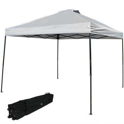 10 ft. x 10 ft. Gray Straight Leg Heavy-Duty Instant Canopy Event Tent with Rolling Bag