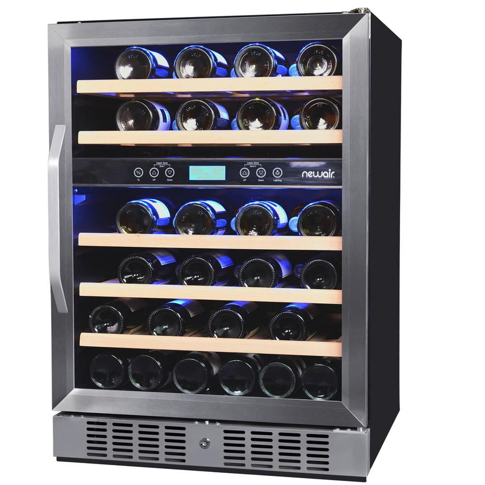 Newair dual zone 46 bottle built in compressor wine cooler for Modern homes 8 bottle wine cooler