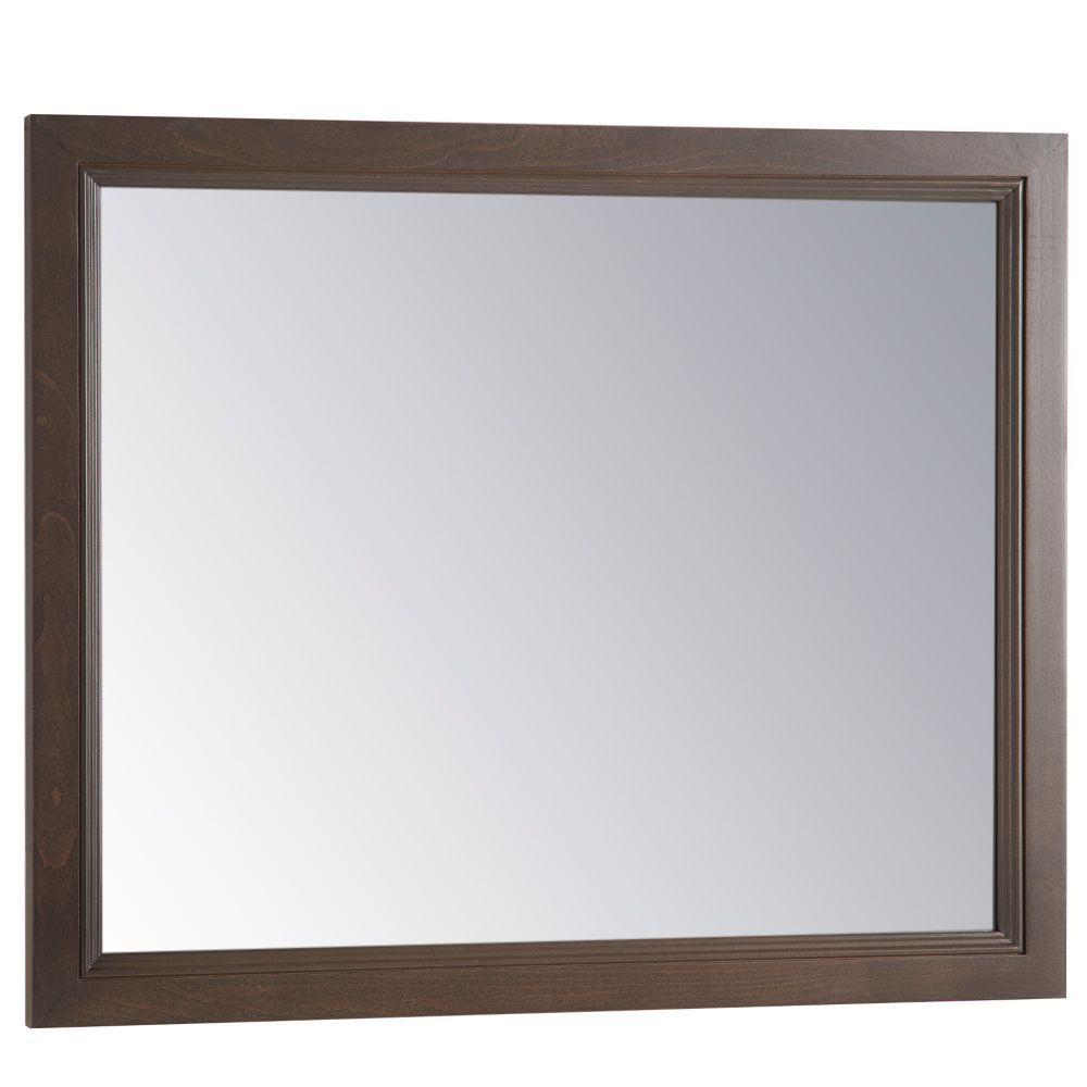 Teasian 26 in. x 31 in. Framed Single Wall Mirror in Flagstone
