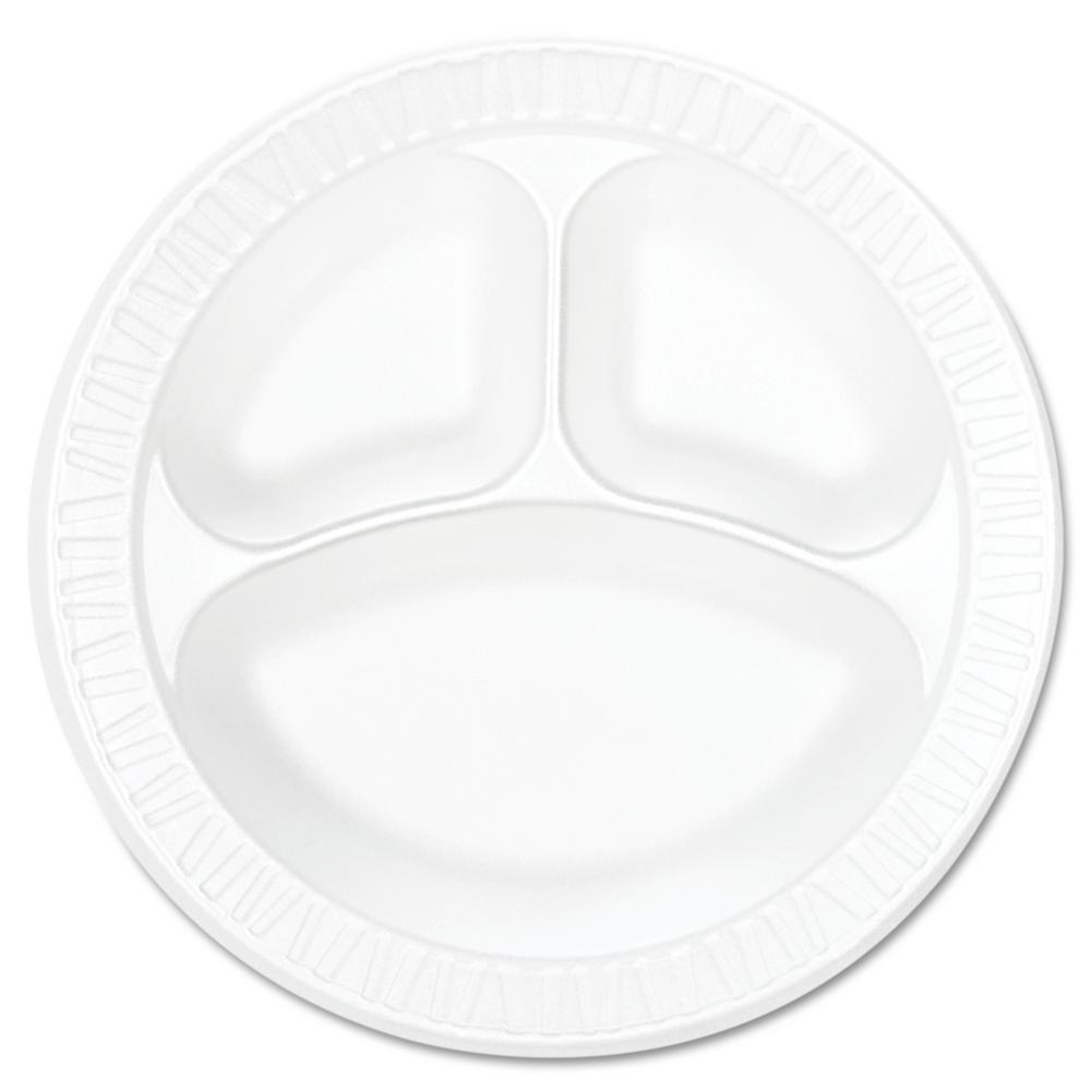 10-1/4 in. Concorde Non-Laminated 3-Compartment Foam Plastic Plates in White