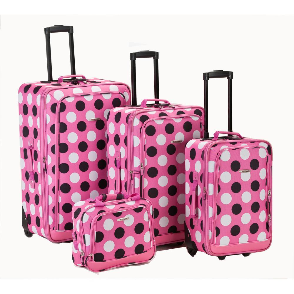 Rockland Beautiful Deluxe Expandable Luggage 4-Piece Softside Luggage Set, Pink dot