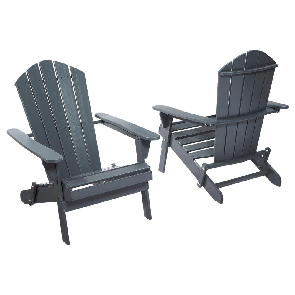 Graphite Folding Outdoor Adirondack Chair (2 Pack)