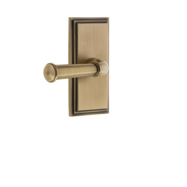 Grandeur Carre Plate 2 3 8 In Backset Vintage Brass Privacy Bed Bath With Georgetown Door Lever 825362 The Home Depot