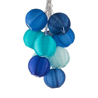 GLOW Outdoor Solar 10-Light  Watery Blue Integrated LED String Light Set