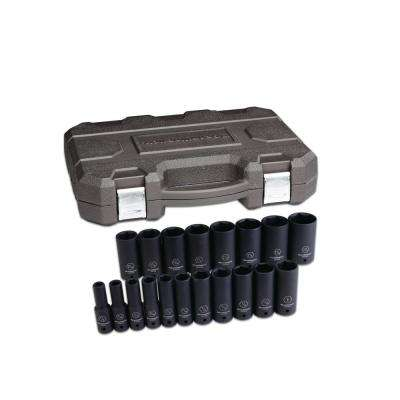 1/2 in. Drive SAE Deep Impact Socket Set (19-Piece)