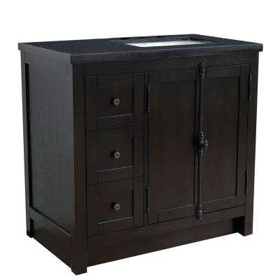 37 in. W x 22 in. D x 36 in. H Bath Vanity in Brown Ash with Black Granite Vanity Top and Right Side Rectangular Sink