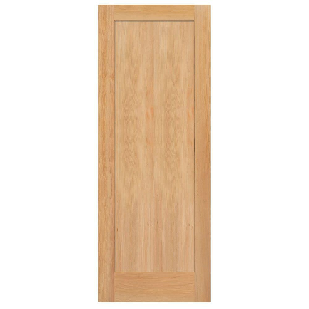Masonite 36 in x 84 in unfinished fir veneer 1 panel shaker flat panel solid wood interior for Solid wood panel interior doors