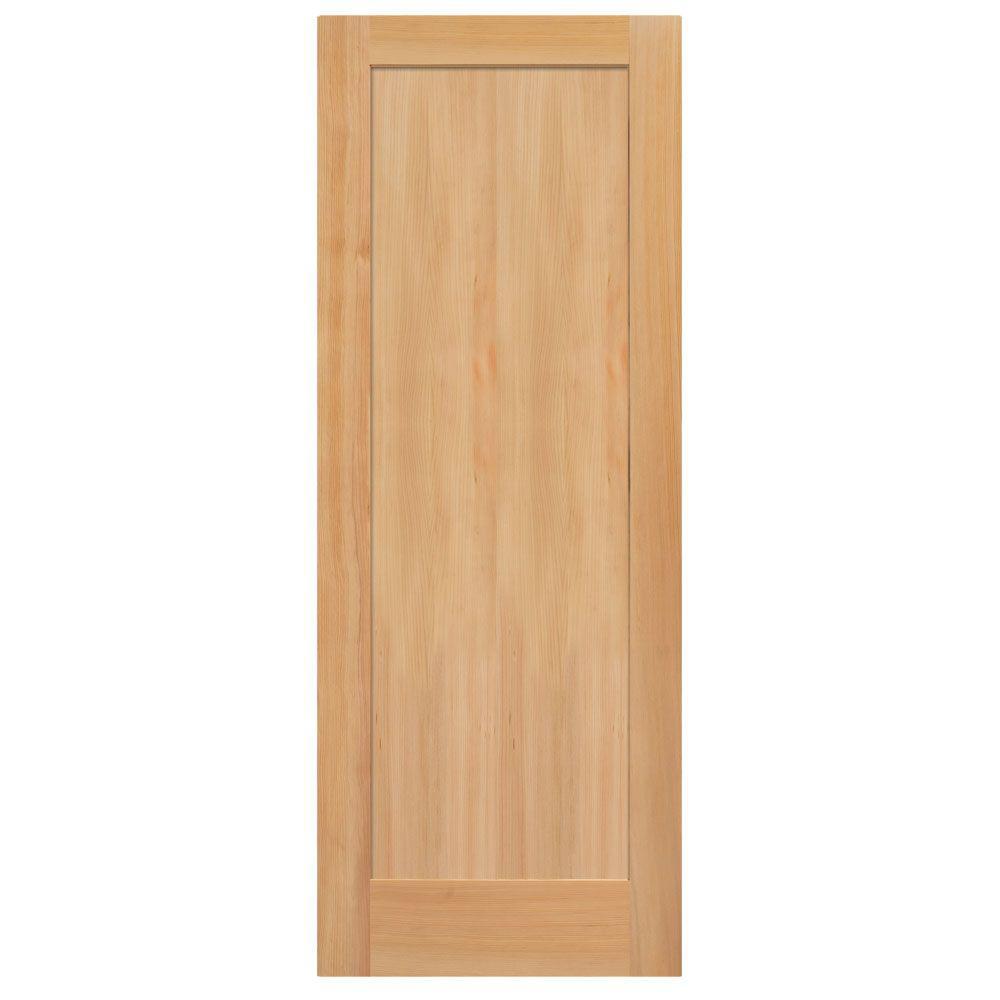 36 in. x 84 in. Unfinished Fir Veneer 1-Panel Shaker Flat Panel Solid Wood Interior Barn Door Slab
