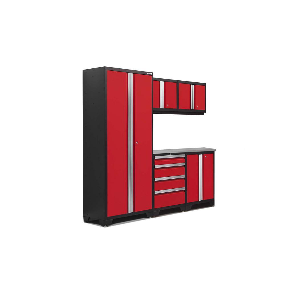 Bold 3.0 77.25 in. H x 78 in. W x 18 in. D 24-Gauge Welded Steel Stainless Steel Worktop Cabinet Set in Red (6-Piece)