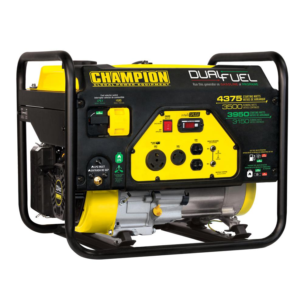 3500-Watt Dual Fuel Powered RV Ready Portable Generator · Champion ...